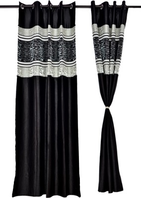 Tip Top Decor Polyester Black, White Solid Rod pocket Door Curtain