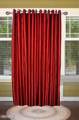 shoppeholics Polyester Red Plain Curtain Door Curtain