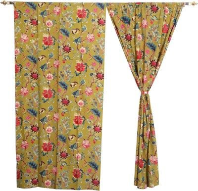 Rajrang Cotton Multicolor Floral Eyelet Door Curtain