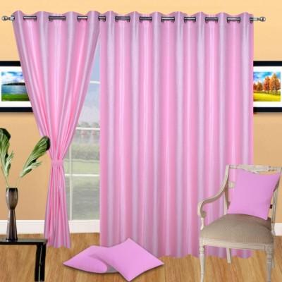 Excel Bazaar Polycotton Light-Pink Plain Eyelet Door Curtain