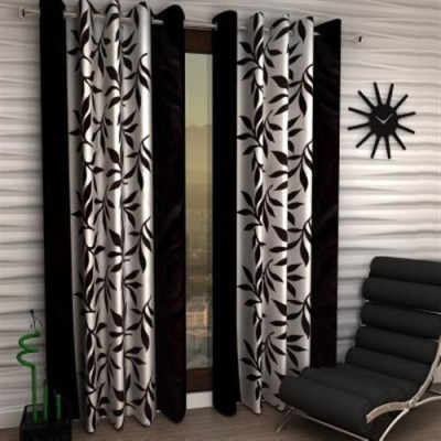 White Wave Polyester Black Printed Tab Top Long Door Curtain