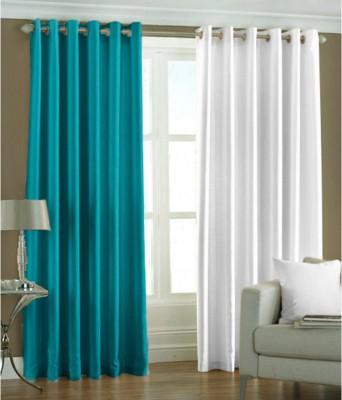 The Decor Hub Polyester Aqua, White Plain Eyelet Window Curtain