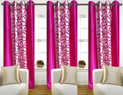 White Wave Polyester Printed Pink Solid Eyelet Door Curtain
