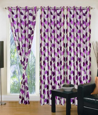 Home And Craft Polyester Purple Printed Eyelet Door Curtain