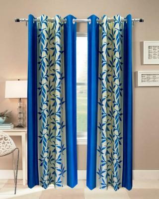 Urban Arts Polyester Blue Solid Tab Top Door Curtain
