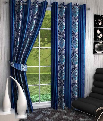 Click Weaves Polyester Blue Floral Eyelet Door Curtain