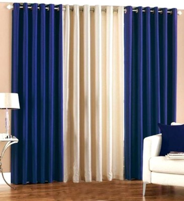 HOMEDECORHD Polyester Blue, White Solid Curtain Door Curtain