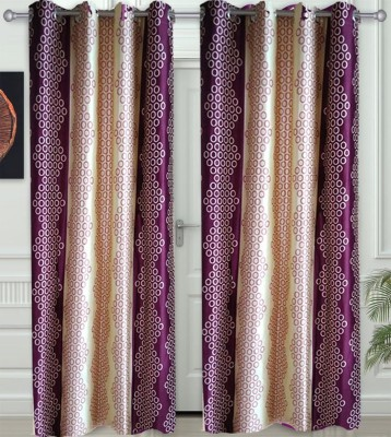 JF Polycotton Maroon Geometric Eyelet Door Curtain