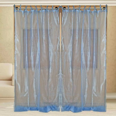 sriam Cotton Blue Solid Curtain Window Curtain
