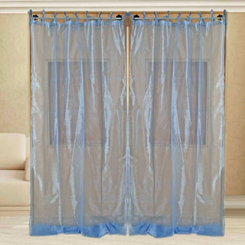 Sriam Cotton Blue Solid Curtain Window Curtain(300 cm in Height, Pack of 2)
