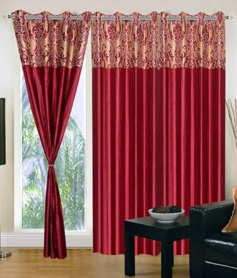 Shopgrab Polyester Red Printed Eyelet Door Curtain