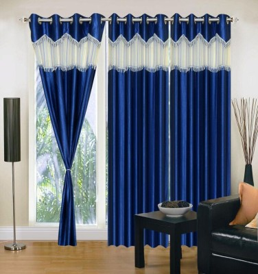 Maa Sharda Exports Polyester Neavy Blue Self Design Eyelet Long Door Curtain