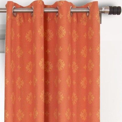 House This Cotton Orange Abstract Eyelet Long Door Curtain