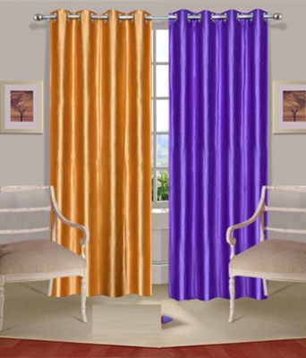 Fogg Polyester Purple, Gold Solid Tab Top Door Curtain
