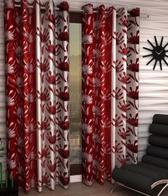 Jai Ganga Polyester Red Floral Curtain Door Curtain