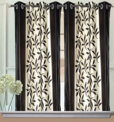 Chaitnya Handloom Polyester Black Floral Eyelet Window Curtain