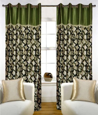 STC Polyester Green Self Design Eyelet Door Curtain