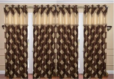 Rangoli Home Polyester Brown Checkered Eyelet Door Curtain