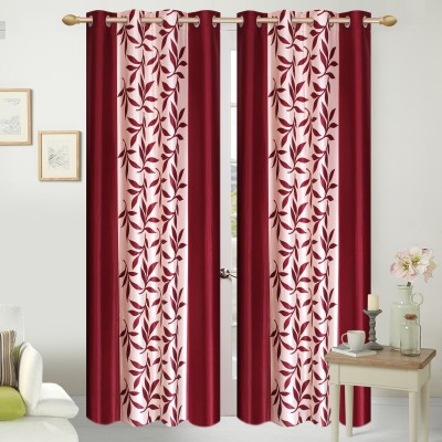 Shopgalore Polyester Maroon Floral Eyelet Window Curtain