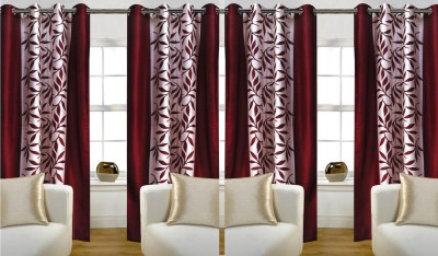 Thiwas Polyester Maroon Printed Eyelet Door Curtain