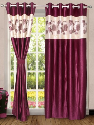 Wind Drape Polyester Wine Floral Ring Rod Door Curtain