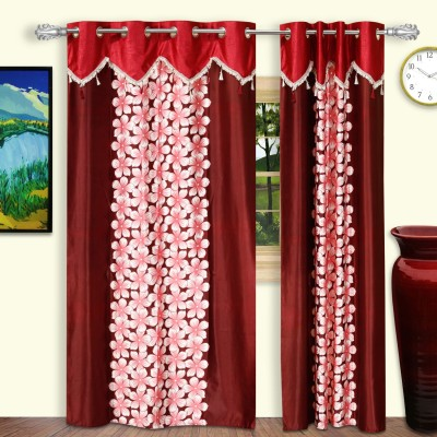 Dreaming Cotton Polyester Maroon Floral Eyelet Door Curtain