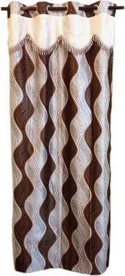 Trendy Home Polyester Brown Geometric Eyelet Door Curtain