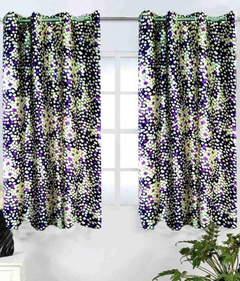 Shopgalore Polyester Purple Abstract Eyelet Window Curtain