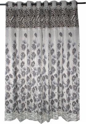 Krishna Handloom Centre Cotton Brown, Grey Floral Eyelet Door Curtain