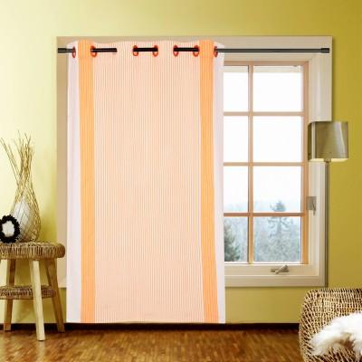 Handloom Factory Cotton Orange Striped Eyelet Window Curtain