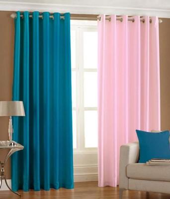 Homesazz Polyester Multicolor Plain Eyelet Window Curtain
