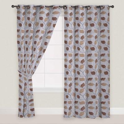 Presto Polyester Brown, Grey Floral Eyelet Window Curtain