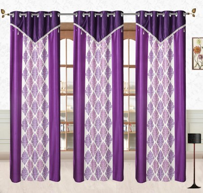 Comfort Zone Polyester Blue And White Abstract Eyelet Long Door Curtain