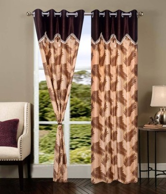 Deco Home Polyester Brown Printed Eyelet Door Curtain