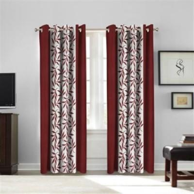 White Wave Polyester Printed Maroon Printed Tab Top Long Door Curtain