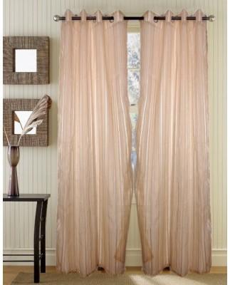 Handloomhub Polyester Cream Solid Tab Top Door Curtain