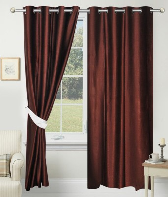 SLV Home Decor Polyester Brown Plain Eyelet Long Door Curtain