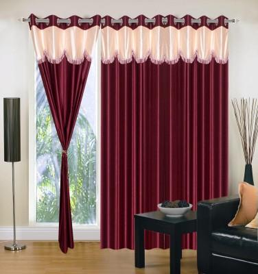 Aroma Comfort Polyester Marron Self Design Eyelet Door Curtain
