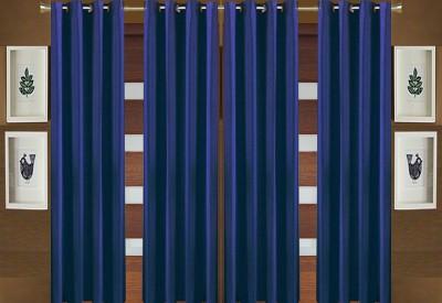 Pendu Art Polyester Blue Plain Eyelet Window Curtain