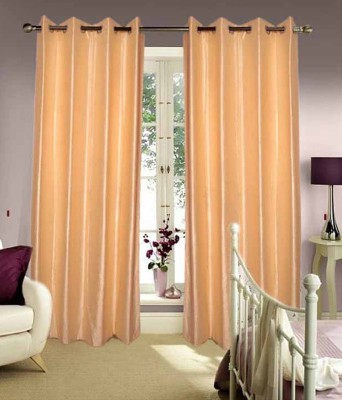 Home Fashion Gallery Polyester Beige Plain Eyelet Long Door Curtain