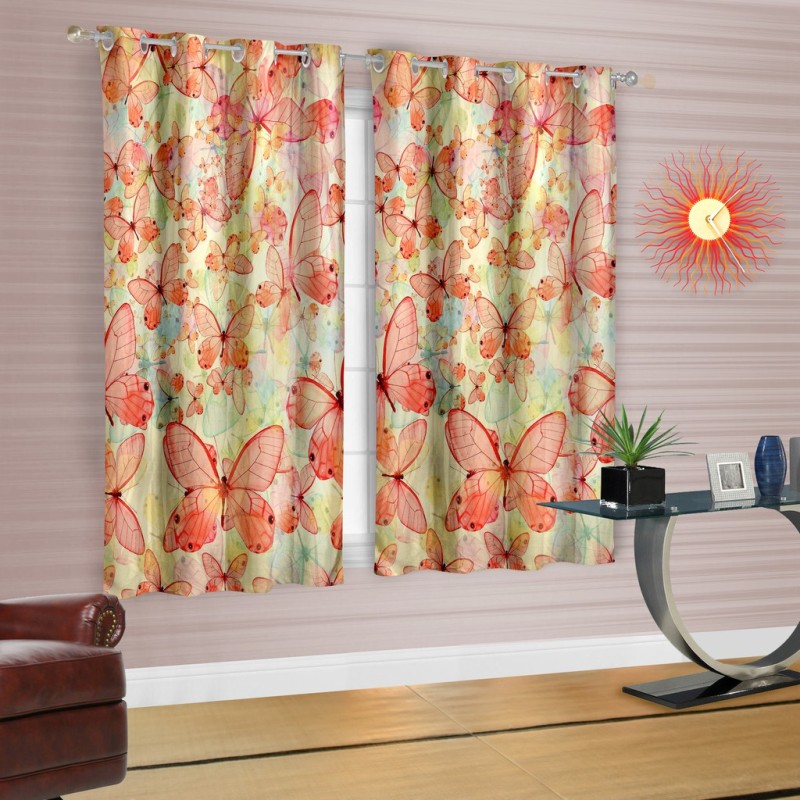 Cortina Polyester Orange Printed Eyelet Window Curtain(150 cm in Height, Single Curtain)