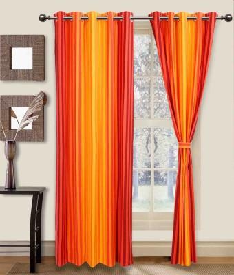 Elan Cotton Orange Striped Eyelet Door Curtain