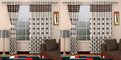STC Jacquard Brown Self Design Eyelet Long Door Curtain