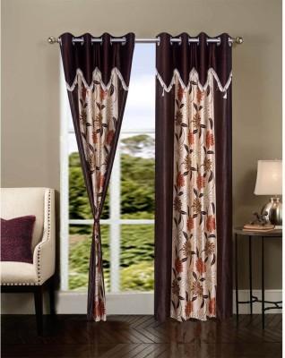 JTInternational Polyester Brown Floral Eyelet Door Curtain