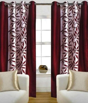 RS Quality Polyester Brown Floral Eyelet Window & Door Curtain