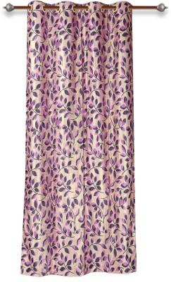 Mahamantra Polyester Pink Solid Eyelet Door Curtain
