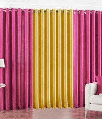 The Decor Hub Polyester Pink, Yellow Plain Eyelet Long Door Curtain