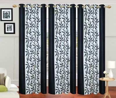 Excel Bazaar Polycotton Black Floral Eyelet Long Door Curtain