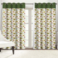 Solaj Cotton Yellow Floral & Green Striped Eyelet Door Curtain(223 cm in Height, Single Curtain)