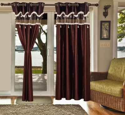 sachidanand solutons Polyester Brown Embroidered Eyelet Window & Door Curtain